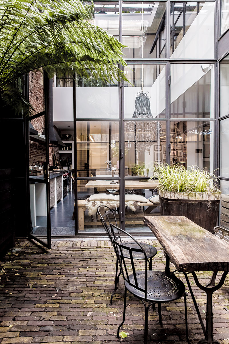 Living Around An Interior Patio Industrial Style In
